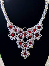 Load image into Gallery viewer, Romanov Silver Byzantine Necklace with Red Swarovski Crystals - Rayven's Chainmaille
