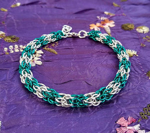 Aqua & Silver Candy Cane Cord Chainmaille Bracelet - Rayven's Chainmaille