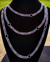 Load image into Gallery viewer, Unicorn Rainbow 64 inch Claspless Half Foxtail Chainmaille Necklace - Rayven's Chainmaille