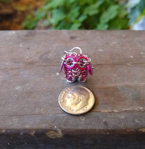 Pink Chainmaille Owl Earrings - Rayven's Chainmaille