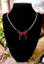Load image into Gallery viewer, Black & Red Swarovski Butterfly Chainmaille Necklace - Rayven's Chainmaille