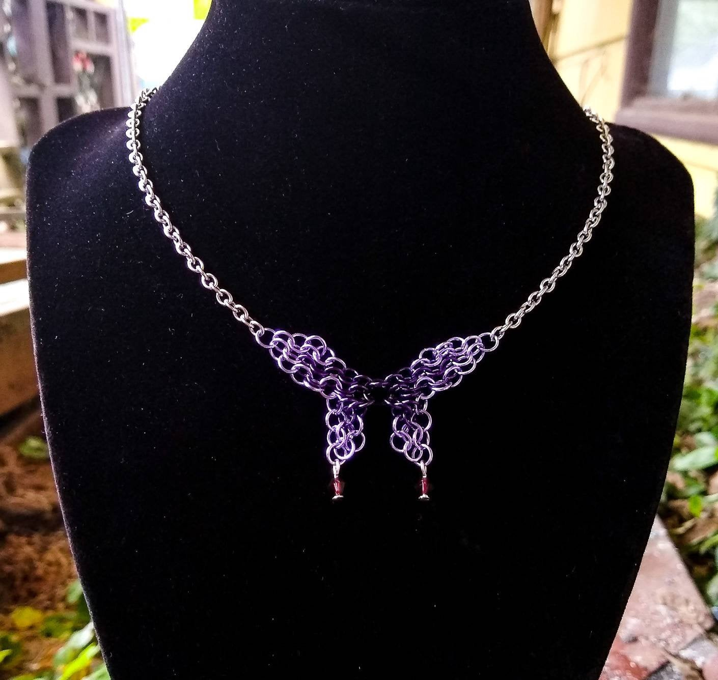 Midnight Purple & Lavender Swarovski Crystal Butterfly Chainmaille Necklace - Rayven's Chainmaille