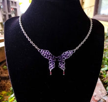 Load image into Gallery viewer, Midnight Purple & Lavender Swarovski Crystal Butterfly Chainmaille Necklace - Rayven's Chainmaille