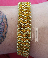 Load image into Gallery viewer, Gold & Yellow Elf Sheet Chainmaille Bracelet - Rayven's Chainmaille