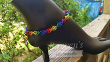Load image into Gallery viewer, Rainbow Double Helix Chainmaille Anklet - Rayven's Chainmaille
