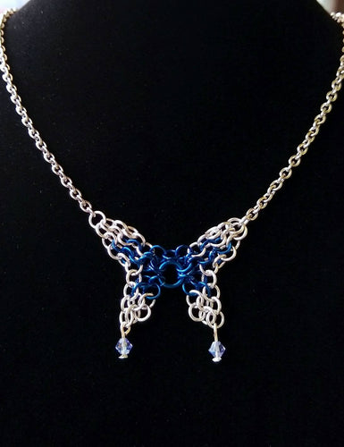 Blue & Silver Swarovski Butterfly Chainmaille Necklace - Rayven's Chainmaille