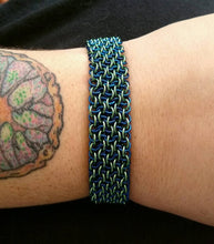 Load image into Gallery viewer, Blue & Seafoam Vipera Berus Sheet Chainmaille Bracelet - Rayven's Chainmaille