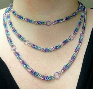 Unicorn Rainbow 64 inch Claspless Half Foxtail Chainmaille Necklace - Rayven's Chainmaille