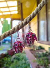 Load image into Gallery viewer, Pink Chainmaille Owl Earrings - Rayven's Chainmaille