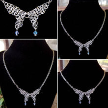 Load image into Gallery viewer, Silver Colored Swarovski Butterfly Chainmaille Necklace - Rayven's Chainmaille