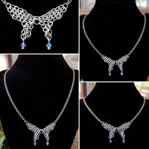 Silver Colored Swarovski Butterfly Chainmaille Necklace - Rayven's Chainmaille