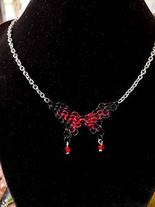 Black & Red Swarovski Butterfly Chainmaille Necklace - Rayven's Chainmaille