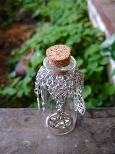 Pentacle Charm Chainmaille Wishing Bottle - Rayven's Chainmaille