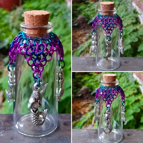 Mermaid Charm Chainmaille Wishing Bottle - Rayven's Chainmaille