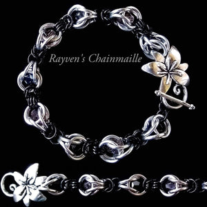 Silver & Black Byzantine Captured Crystals Chainmaille Bracelet - Rayven's Chainmaille