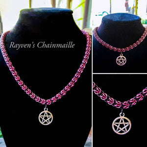 Pink & Black Foxtail Chainmaille Pentacle Necklace - Rayven's Chainmaille