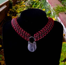 Load image into Gallery viewer, Red & Black Padlock GSG Chainmaille Collar - Rayven's Chainmaille