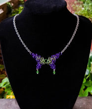 Load image into Gallery viewer, Purple & Lime Green Swarovski Chainmaille Butterfly Necklace - Rayven's Chainmaille