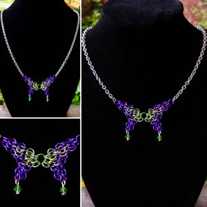 Purple & Lime Green Swarovski Chainmaille Butterfly Necklace - Rayven's Chainmaille