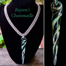 Load image into Gallery viewer, Silver Chainmaille Hand Blown Glass Pendant Chainmaille Necklace - Rayven's Chainmaille