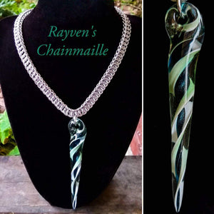 Silver Chainmaille Hand Blown Glass Pendant Chainmaille Necklace - Rayven's Chainmaille