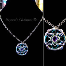 Load image into Gallery viewer, Forbidden Eye Amethyst Chainmaille Pendant - Rayven's Chainmaille