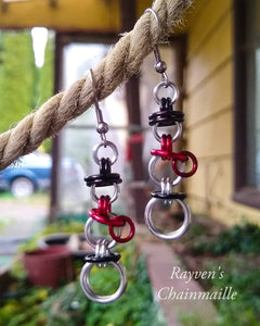 Snowman Chainmaille Earrings - Rayven's Chainmaille