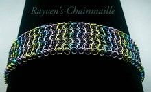 Load image into Gallery viewer, Black Unicorn Rainbow Elf Sheet Chainmaille Bracelet - Rayven's Chainmaille