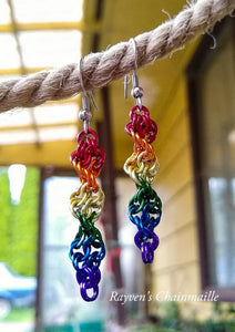 Rainbow Double Helix Chainmaille Earrings - Rayven's Chainmaille