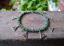 Load image into Gallery viewer, Rayven's Chainmaille| Harry Potter Slytherin Deathly Hallows Charm Bracelet