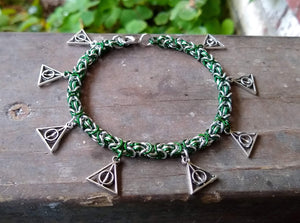 Rayven's Chainmaille| Harry Potter Slytherin Deathly Hallows Charm Bracelet