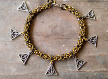 Load image into Gallery viewer, Rayven's Chainmaille| Harry Potter Hufflepuff Deathly Hallows Charm Bracelet