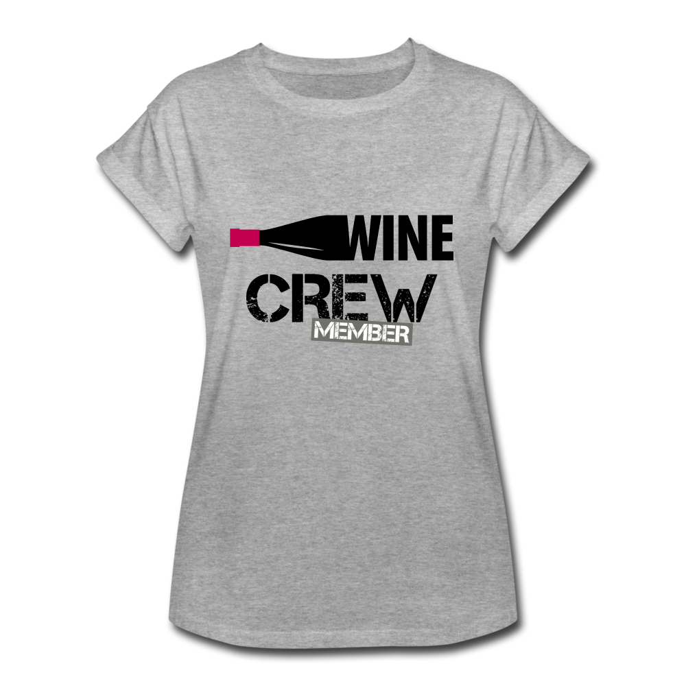 Wine Crew Member Cuffed sleeves - heather gray
