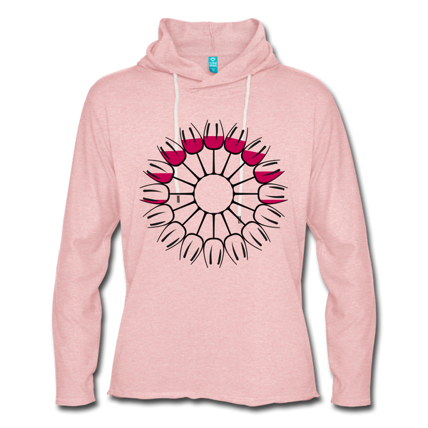 Circle of Wine Terry Hoodie - cream heather pink