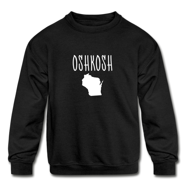 Oshkosh WI Kids' Crewneck Sweatshirt - black