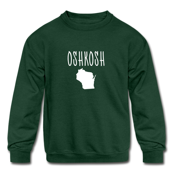 Oshkosh WI Kids' Crewneck Sweatshirt - forest green