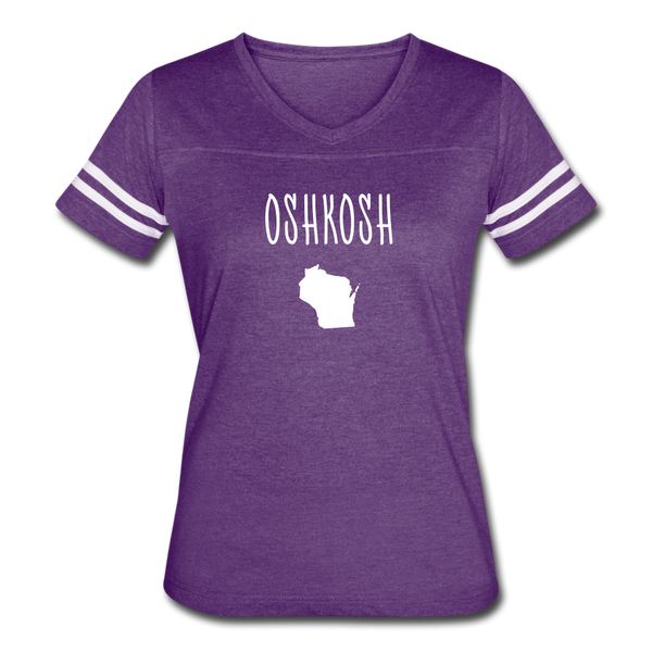 Oshkosh WI Women's Vintage Sport T-Shirt - vintage purple/white
