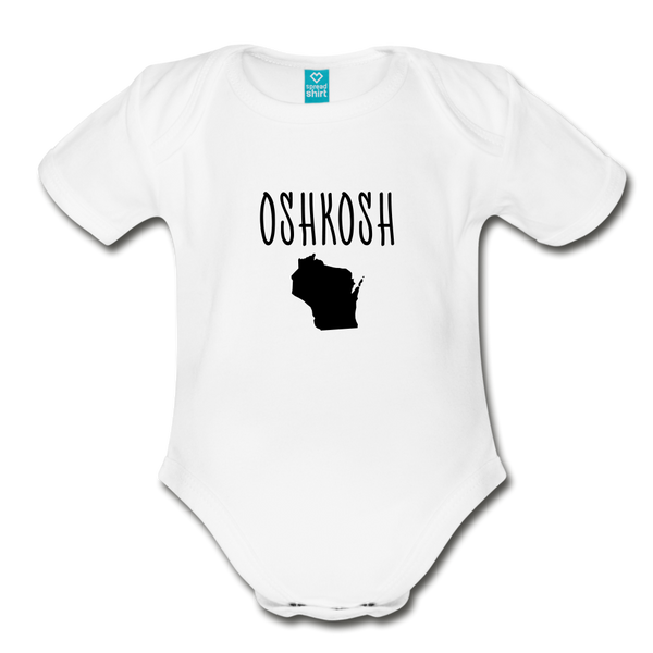 Organic Short Sleeve Baby Bodysuit Oshkosh WI - white