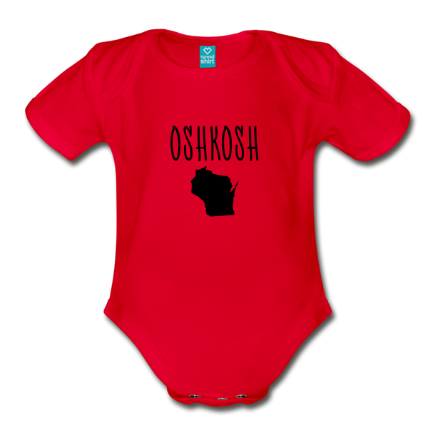 Organic Short Sleeve Baby Bodysuit Oshkosh WI - red