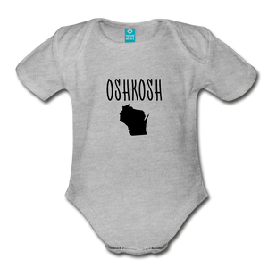 Organic Short Sleeve Baby Bodysuit Oshkosh WI - heather gray