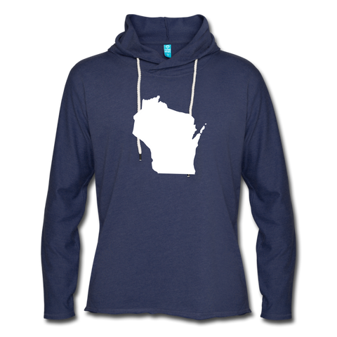 Wisconsin Unisex Lightweight Terry Hoodie - heather navy