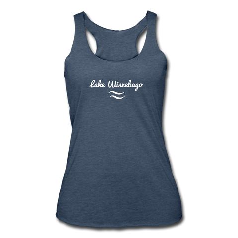 Lake Winnebago Tri-Blend Racerback Tank - heather navy