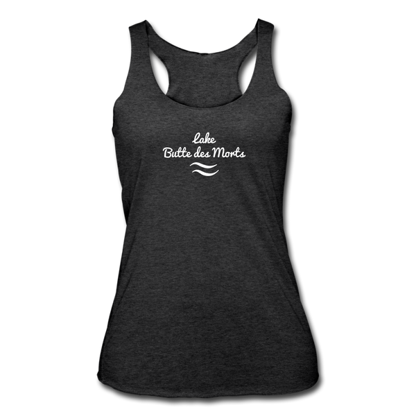 Lake Butte des Morts Tri-Blend Racerback Tank - heather black