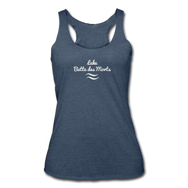 Lake Butte des Morts Tri-Blend Racerback Tank - heather navy