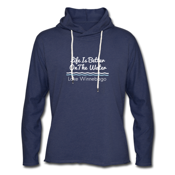 Lake Winnebago Unisex Lightweight Terry Hoodie - heather navy