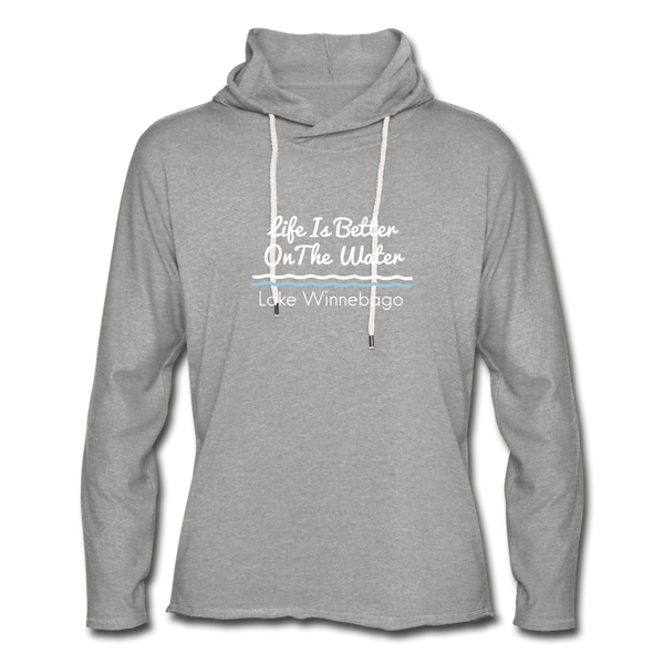 Lake Winnebago Unisex Lightweight Terry Hoodie - heather gray