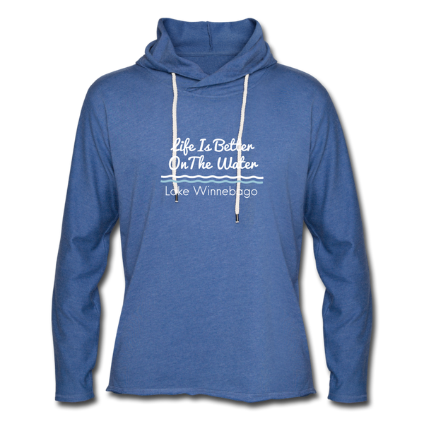 Lake Winnebago Unisex Lightweight Terry Hoodie - heather Blue
