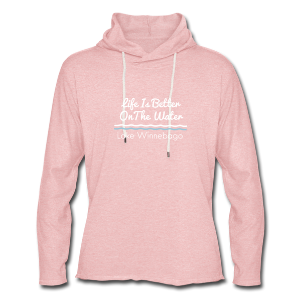 Lake Winnebago Unisex Lightweight Terry Hoodie - cream heather pink