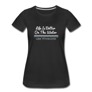 Life Is Better Lake Winneconne Premium Tee. - black