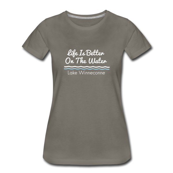 Life Is Better Lake Winneconne Premium Tee. - asphalt gray